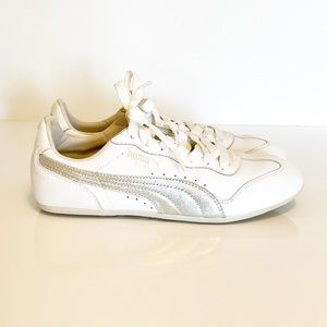 Puma Ring Leather Lace Up Shoes White Silver 7.5